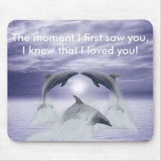 Amo delfínes alfombrilla de ratón