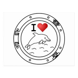Amo delfínes tarjeta postal