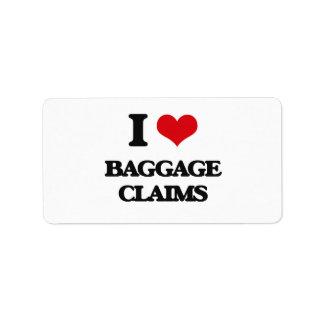 Amo demandas de equipaje etiquetas de dirección