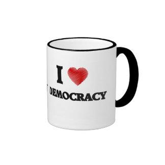 Amo democracia taza de dos colores