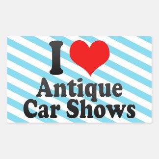 Amo demostraciones de coche antiguo pegatina rectangular