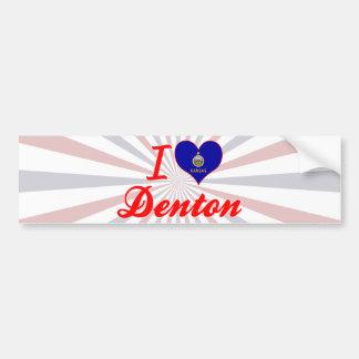 Amo Denton, Kansas Pegatina Para Auto