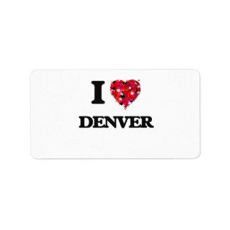 Amo Denver Colorado Etiquetas De Dirección