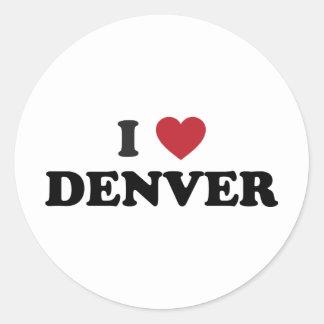 Amo Denver Colorado Pegatina Redonda