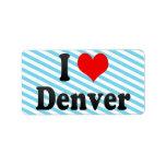 Amo Denver, Estados Unidos Etiquetas De Dirección