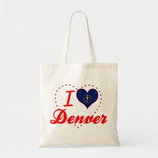 Amo Denver, Indiana Bolsas Lienzo