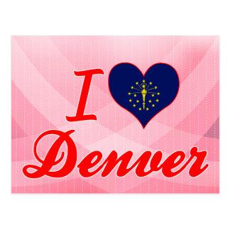 Amo Denver, Indiana Tarjeta Postal