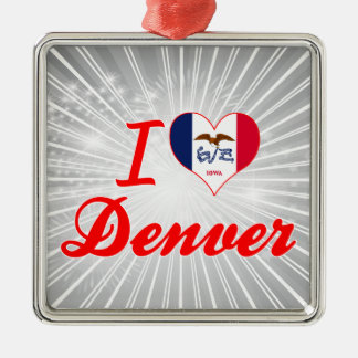 Amo Denver, Iowa Adorno Navideño Cuadrado De Metal