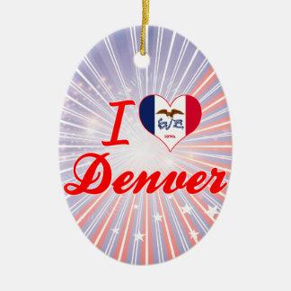 Amo Denver, Iowa Adorno Navideño Ovalado De Cerámica