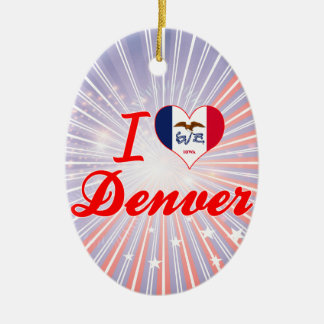 Amo Denver, Iowa Adorno Ovalado De Cerámica