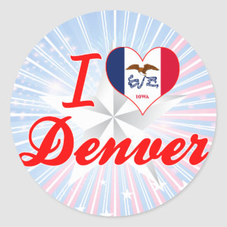 Amo Denver, Iowa Pegatina Redonda