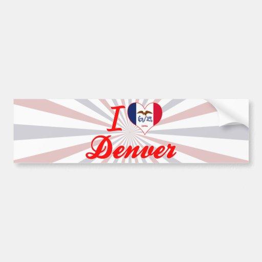 Amo Denver, Iowa Pegatina De Parachoque