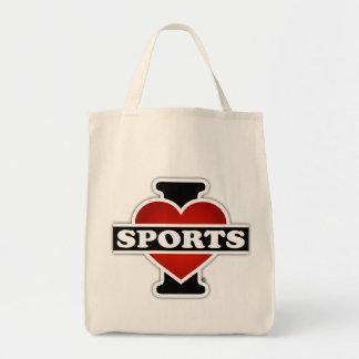 Amo deportes bolsa tela para la compra