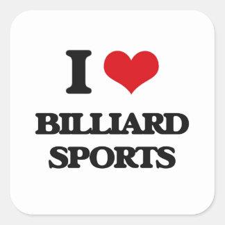 Amo deportes del billar pegatina cuadrada