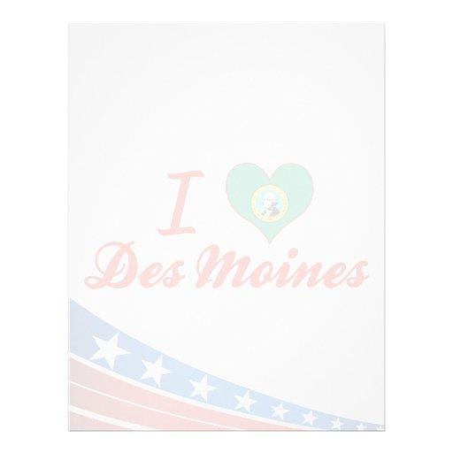 Amo Des Moines, Washington Membrete Personalizado