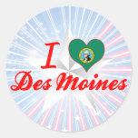 Amo Des Moines, Washington Pegatinas Redondas