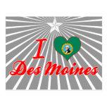 Amo Des Moines, Washington Tarjetas Postales