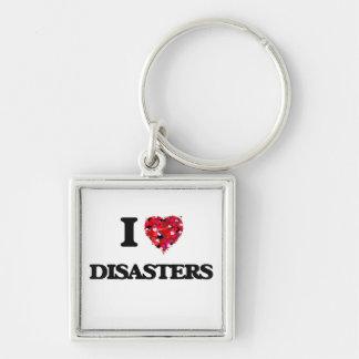 Amo desastres llavero cuadrado plateado
