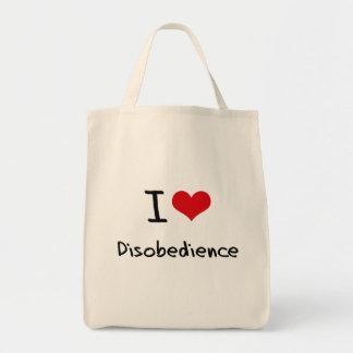 Amo desobediencia bolsa tela para la compra
