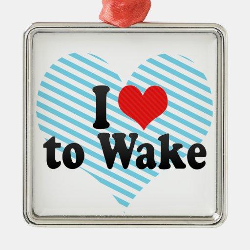 Amo despertar adorno cuadrado plateado