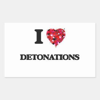 Amo detonaciones pegatina rectangular