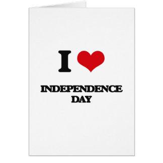 Amo Día de la Independencia Tarjeta De Felicitación