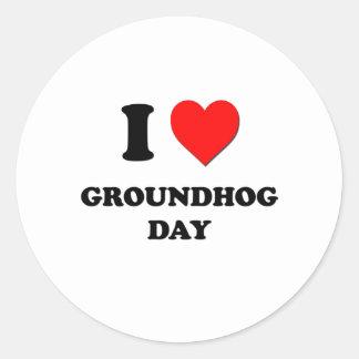 Amo día de la marmota pegatinas redondas