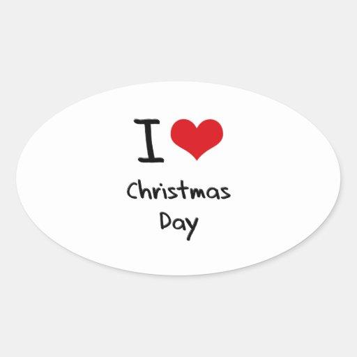 Amo día de navidad pegatina ovalada