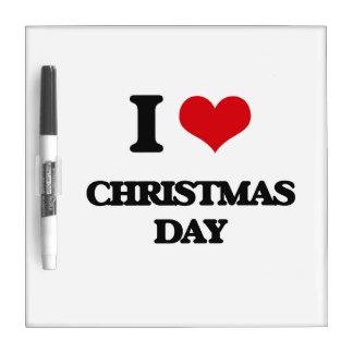 Amo día de navidad pizarras blancas