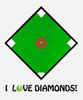 """""""Amo diamantes!"""" Camisetas y regalos del softball"""