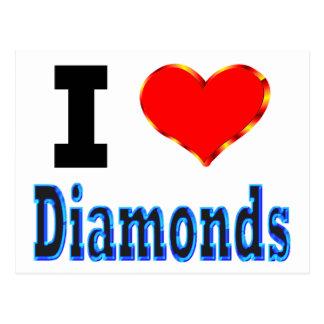 Amo diamantes tarjeta postal