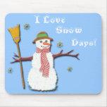 ¡Amo días de la nieve! Mousepad Alfombrillas De Ratón
