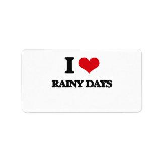 Amo días lluviosos etiqueta de dirección