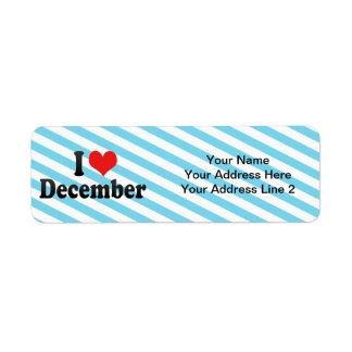 Amo diciembre etiquetas de remite