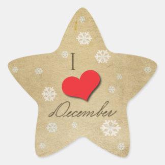 Amo diciembre colcomanias forma de estrella