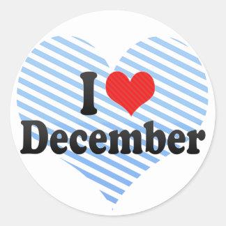 Amo diciembre pegatina redonda
