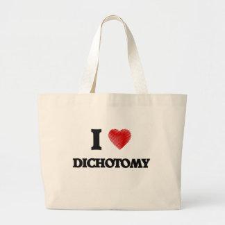 Amo dicotomía bolsa tela grande