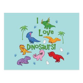 ¡Amo dinosaurios! (Lindo) Postal