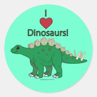 Amo dinosaurios Stegosaurus Etiqueta