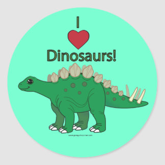 Amo dinosaurios: Stegosaurus Pegatina Redonda
