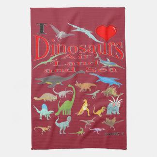 amo dinosaurios toallas de mano