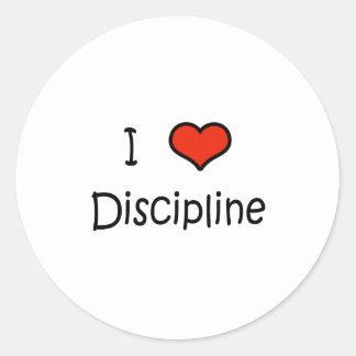Amo disciplina etiqueta redonda