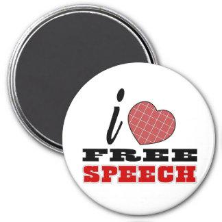 Amo discurso libre imán redondo 7 cm