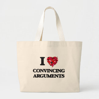 Amo discusiones convincentemente bolsa tela grande