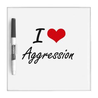 Amo diseño artístico de la agresión pizarra blanca