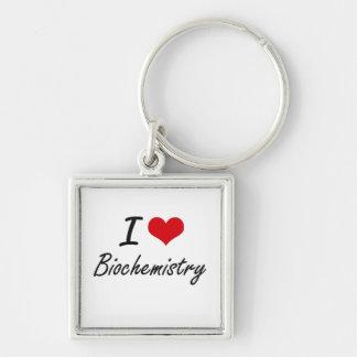 Amo diseño artístico de la bioquímica llavero cuadrado plateado