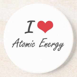 Amo diseño artístico de la energía atómica posavasos manualidades