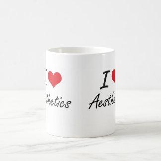 Amo diseño artístico de la estética taza