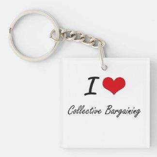 Amo diseño artístico de la negociación colectiva llavero cuadrado acrílico a una cara