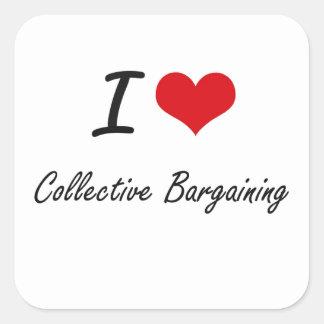 Amo diseño artístico de la negociación colectiva pegatina cuadrada